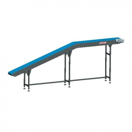 Straight belt conveyor with tensioning and knife-edges